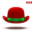Red bowler hat on a white background vector image vector image