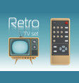 retro tv set and remote control vector image