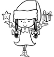 santa claus girl cartoon coloring page vector image vector image