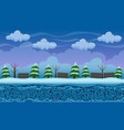 seamless cartoon landscape with fir-trees vector image