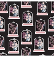 Seamless pattern with hand drawn floral terrariums vector image vector image