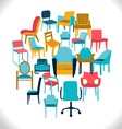 Set of chairs and armchairs set of different chair vector image vector image
