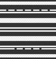 set of template horizontal straight asphalt roads vector image