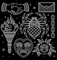 set traditional vintage tattoo vector image