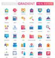 set trendy flat gradient real estate vector image