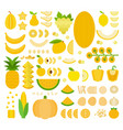 set yellow products icons flat vector image