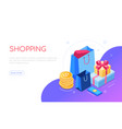 shopping concept - modern colorful isometric web vector image
