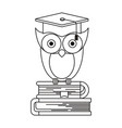 sketch silhouette of owl knowledge with cap vector image vector image