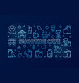 smoothie cafe blue outline horizontal banner or vector image vector image