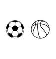 soccer ball and basketball ball icons balls icons vector image