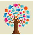 Social media network communication tree vector image