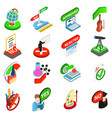 study test icons set isometric style vector image vector image