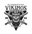 vikings emblem with skull in horned helmet vector image