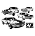 vintage muscle car collection vector image