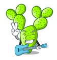 with guitar beautiful opuntia cactus in the garden vector image