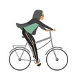 woman riding bicycle young character cyclist girl vector image