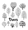 Trees set Hand drawn collection of vector image