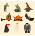 Halloween Characters in Flat Style vector image