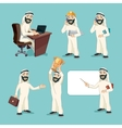Arab businessman in different actions vector image vector image