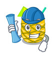 architect pineapple juice in glassware on mascot vector image