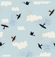 black birds silhouette and clouds with blue sky vector image vector image