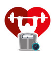 bodybuilder fitness heart weight scale chronometer vector image