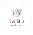 cartoon cat head logo Flat logotype vector image
