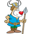 cartoon dog wearing a viking costume and holding a vector image vector image