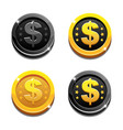 cartoon set golden and black dollar coins vector image vector image