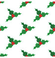 christmas red mistletoe pattern vector image
