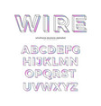color wireframe alphabet vector image