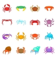 Colorful crab icons set cartoon style vector image vector image