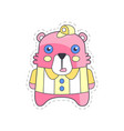 cute funny pink bear colorful cloth patch vector image vector image