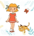 Cute little girl and cat vector image vector image