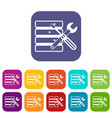database with screwdriverl and spanner icons set vector image vector image