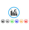 euro recession bar chart rounded icon vector image vector image