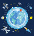 flat of planet earth and space icons astronaut vector image vector image