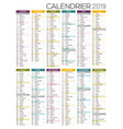 french calendar 2019 vector image