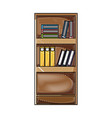 grated education bookcase with books and folder vector image