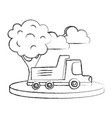 grunge dump truck in the city with clouds and tree vector image