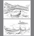 hand drawn rialto bridge and lido island venice vector image vector image