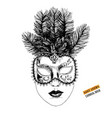 hand drawn venetian carnival face mask vector image vector image