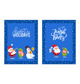 holly jolly greeting cards with lovely santa elf vector image vector image