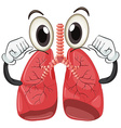 Human lung with face and arms vector image vector image