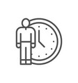 human with clock time management line icon vector image vector image