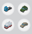isometric car set of auto armored truck and vector image