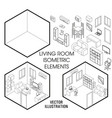isometric living room interior constructor vector image vector image