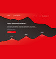 landing page template paper cut 3d design red vector image
