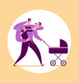 man with four arms carries baby stroller bag vector image vector image