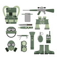 military weapon guns symbols armor set forces vector image